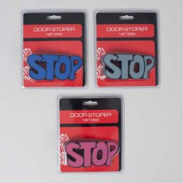 "36 Units of Door Stopper ""stop"" Shaped 3ast Colors 4.8x2.2in Blstr Card - Doors"