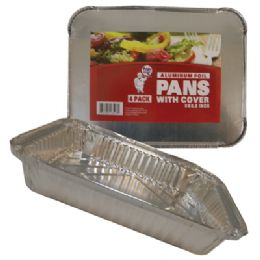48 Units of 4 Pack Rectangular Foil Pan With Cover - Aluminum Pans