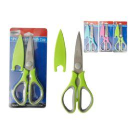 96 Units of 1 Piece Scissors With Cap - Scissors