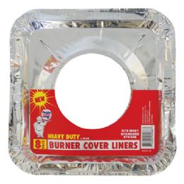 72 Units of Foil Burner Liner 8 Pack 8.5 X 8.5 Inches Heavy Duty - Aluminum Pans