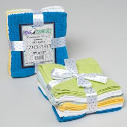 24 Units of Wash Cloths 6pk 12 X 12 Ribbed/ Popcorn W/ribbon Tie Asst Colors See n2 - Bath Towels