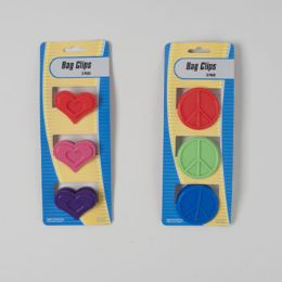 72 Units of 3pk 2ast Plastic Round Peace Or Heart Bag Clip/stat Card - Clips and Fasteners