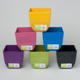 48 Units of Planter Bamboo Tapered Square Biodegradable 6asst Colors 50d X 5h L&g Label - Garden Planters and Pots