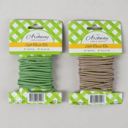48 Units of Soft Twist Tie 10ft/3mm Green/ Tan 12pc Merchstrip Gardn Tcd - Garden Tools