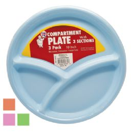 36 Units of Plastic 10 Inch Compartment Plate - Plastic Bowls and Plates