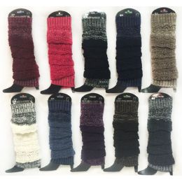 12 Units of Wholesale Knitted Long Boot Topper Multi-Layer Assorted Colors
