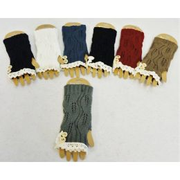 12 Units of Wholesale Vintage Look Lace Knitted Gloves with Buttons - Knitted Stretch Gloves