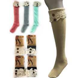 12 Units of Wholesale Solid Color Knee High Stocking with Lace with Buttons