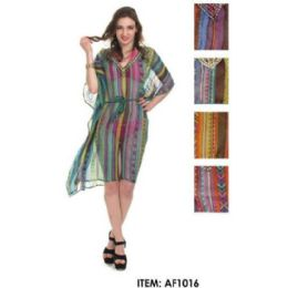 12 Units of MultI-Color Striped Chiffon Coverup - Women's Cover Ups