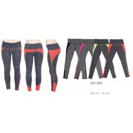 12 Units of Women's Yoga Pants With Assorted Color Sections - Womens Leggings