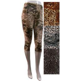 12 Units of Leopard Print Leggings in Assorted Colors - Womens Leggings
