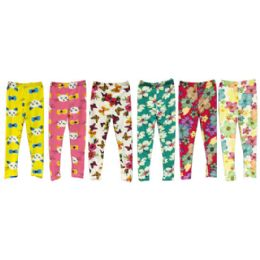 24 Units of Wholesale Kids Legging with Butterfly Cat and Flower Prints 4-6 - Girls Leggings