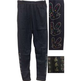 12 Units of Dark Jean Colored Kids Leggings with Decors - Girls Leggings