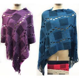 6 Units of Wholesale Knit Poncho Shawl Contrasting Square Patch And Fringes - Winter Pashminas and Ponchos