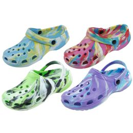 48 Units of Ladies Tie Dye Garden Shoes Assorted Color - Women's Sandals