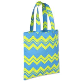 100 Units of 10 Inch Printed Non Woven Tote Bag - Chevron Print - Tote Bags & Slings