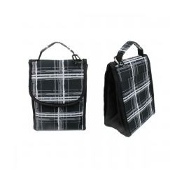 """24 Units of 10"""" Insulated Lunch Bag In A Black Plaid Print - Lunch Bags & Accessories"""