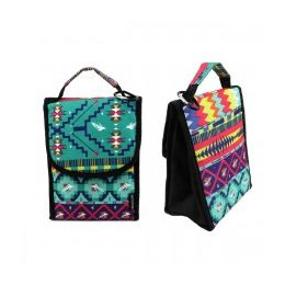 """24 Units of 10"""" Insulated Lunch Bag In A Dark Aztec Print - Lunch Bags & Accessories"""
