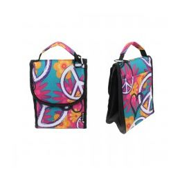 """24 Units of 10"""" Insulated Lunch Bag In Peace And Flower Print - Lunch Bags & Accessories"""