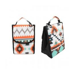 """24 Units of 10"""" Insulated Lunch Bag In A Light Aztec Print - Lunch Bags & Accessories"""