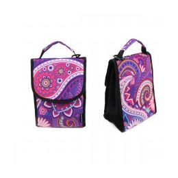 """24 Units of 10"""" Insulated Lunch Bag In A Purple Paisley Print - Lunch Bags & Accessories"""