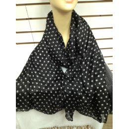 36 Units of Polka Dot Scarf (black) - Womens Fashion Scarves