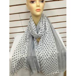 36 Units of Polka Dot Scarf (white) - Womens Fashion Scarves