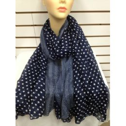 36 Units of Polka Dot Scarf (navy Blue) - Womens Fashion Scarves