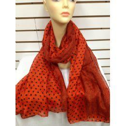 36 Units of Polka Dot Scarf (auburn Orange) - Womens Fashion Scarves