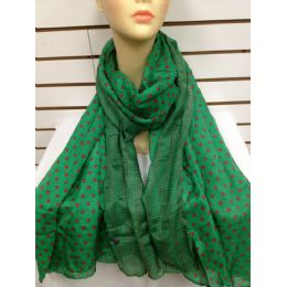36 Units of Polka Dot Scarf (green) - Womens Fashion Scarves