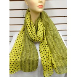 36 Units of Polka Dot Scarf (yellow) - Womens Fashion Scarves