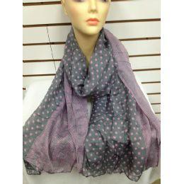 36 Units of Polka Dot Scarf (grey) - Womens Fashion Scarves