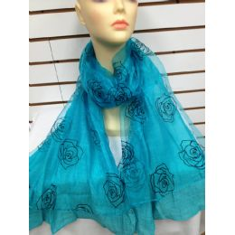 24 Units of Rose Print Scarf (aqua Blue) - Womens Fashion Scarves