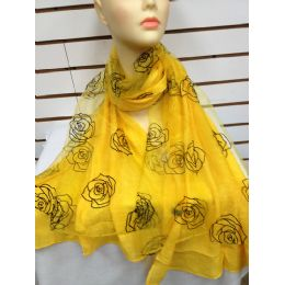 24 Units of Rose Print Scarf (yellow) - Womens Fashion Scarves