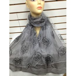 24 Units of Rose Print Scarf (grey) - Womens Fashion Scarves