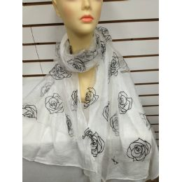 24 Units of Rose Print Scarf (white) - Womens Fashion Scarves