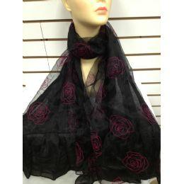 24 Units of Rose Print Scarf (black) - Womens Fashion Scarves