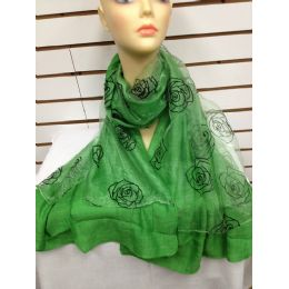 24 Units of Rose Print Scarf (green) - Womens Fashion Scarves