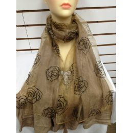 24 Units of Rose Print Scarf (brown) - Womens Fashion Scarves