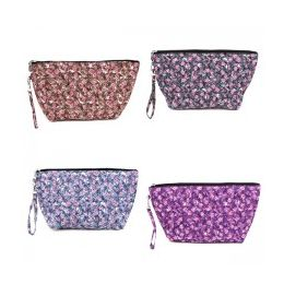 60 Units of Quilted Cosmetic Make Up Bag in a Floral Print - Cosmetic Cases