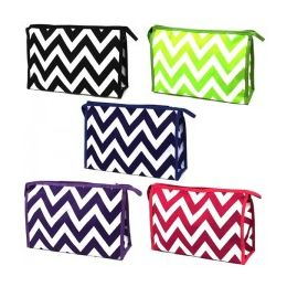 60 Units of Large Cosmetic Make Up Bag in a Chevron Print - Cosmetic Cases