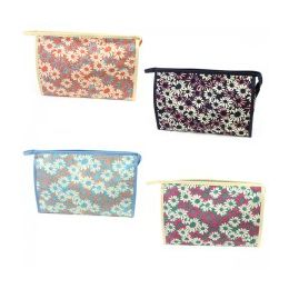 60 Units of Large Cosmetic Make Up Bag in a Daisy Print - Cosmetic Cases
