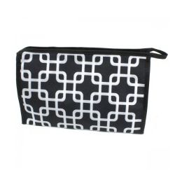60 Units of Large Cosmetic Make Up Bag in Overlapping Squares Design - Cosmetic Cases