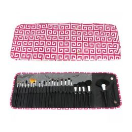 60 Units of 24 Piece COSMETIC Brush Set in A Greek Key Print