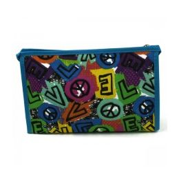 60 Units of Cosmetic Make Up Bag In A Peace Love Print - Cosmetic Cases
