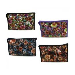 60 Units of Cosmetic Make Up Bag In A Floral Print - Cosmetic Cases