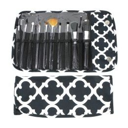 36 Units of 10 Piece COSMETIC Brush Set in a Quatrefoil Print