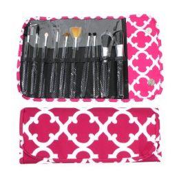 36 Units of 10 Piece Cosmetic Brush Set in a Quatrefoil Print - Cosmetics