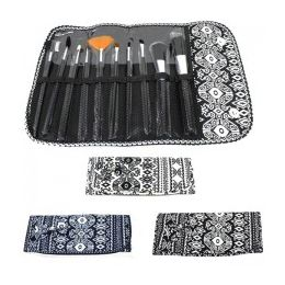 36 Units of 10 Piece Cosmetic Brush Set in a Aztec Print - Cosmetics