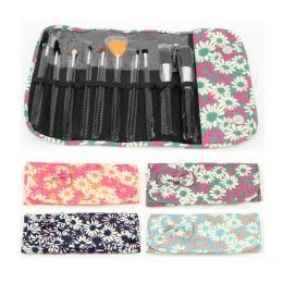 36 Units of 10 Piece Cosmetic Brush Set in a Daisy Print - Cosmetics